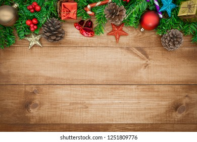 Wooden background  Christmas decoration and  copy space