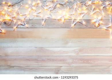 Wooden Background, Christmas garland star, Copy Space and  Flat Lay