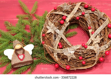 Wooden background with Christmas symbols