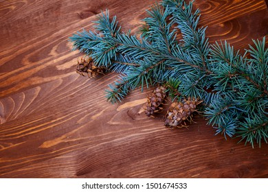 wooden background with fir tree