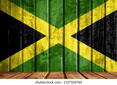 Wooden background with a flag of Jamaica.
