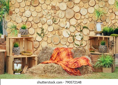 Wooden background photozone with green plants and rustic decorations