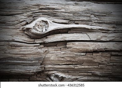 Wooden Background Or Texture With Knothole, Copy Space And Frame