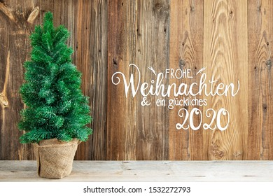 Wooden Background, Tree, Calligraphy Frohe Weihnachten Means Merry Christmas