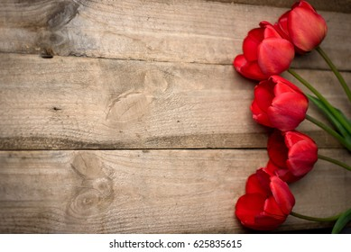 Wooden background with tulips