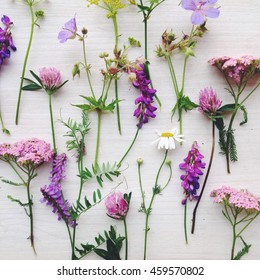 wooden background with wild flowers, daisy, bellflower, yarrow. delicate pastel purple color.