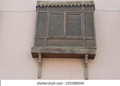 wooden balcony in arabian style