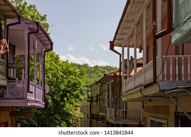 Wooden balcony in Georgia, Signagi (Sighnaghi), Georgian small town, Kakheti