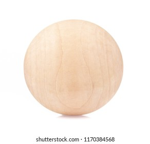 Wooden ball isolated on white background.