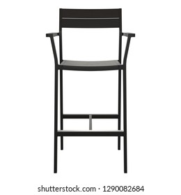 Wooden Bar stool on white background_ front view