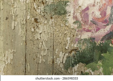 Wooden bark with cracked old paint, vintage style