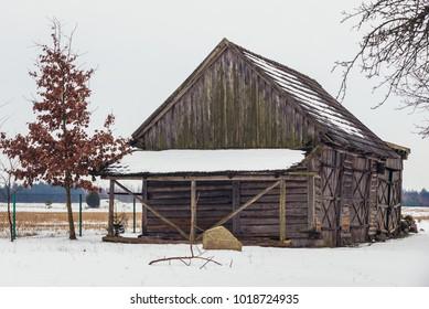 Wooden barn in Soce village in Podlasie region of Poland