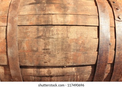 Wooden Barrel in the background