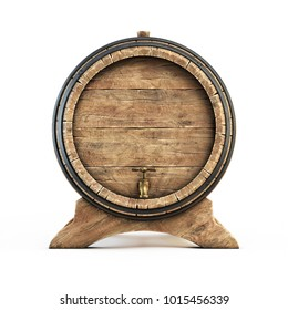Wooden barrel front view isolated on white background, wine, beer, alcohol drink storage 3d illustration