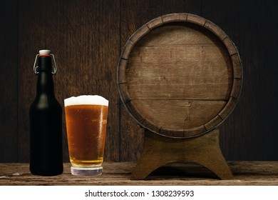 Wooden barrel and glass of beer on a old oak table of wood.