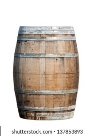 Wooden barrel with iron rings isolated on white background