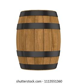 Wooden Barrel Isolated. 3D rendering