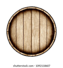 Wooden barrel isolated on white background, top view. 3d rendering. Old wine, whiskey, beer barrel.