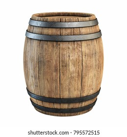 Wooden barrel isolated on white background 3d illustration