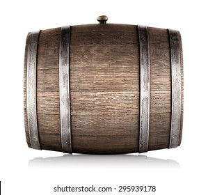 Wooden barrel lying on its side isolated on a white background