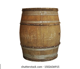 Wooden barrel with metal hoops isolated on white background with clipping path