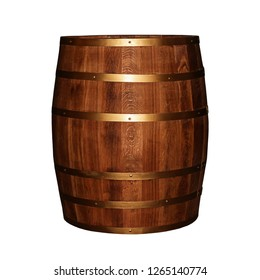 wooden barrel oak dark vertical hoop on a white background