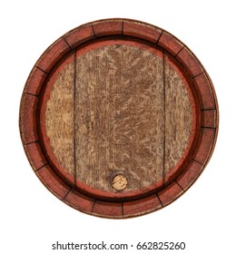 Wooden barrel round frame isolated on white.  Vintage old Cask with cork, top view.