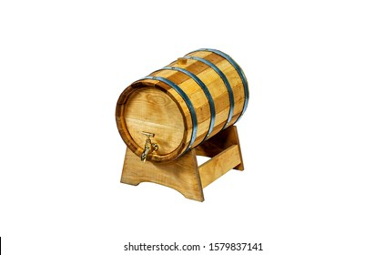 Wooden barrel with tap isolated on white. Barrel with tap. Barrel isolated on white. Wooden barrel