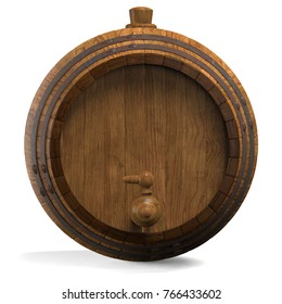 Wooden barrel for wine. 3D illustration