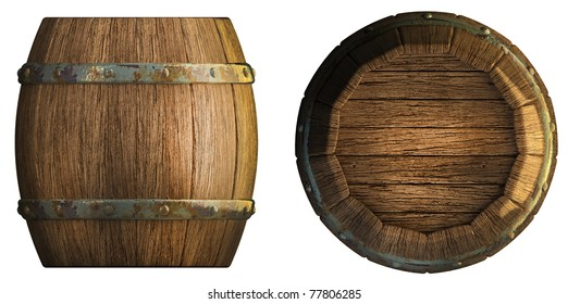 Wooden barrels Background 3d