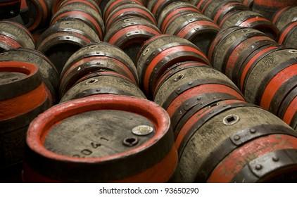 Wooden barrels at beer factory