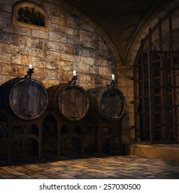 Wooden barrels and candles in a medieval cellar