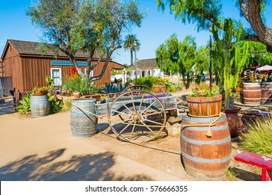 Wooden barrels and cart in Old Town San Diego, California