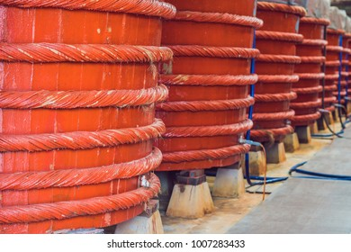 Wooden barrels in a fish sauce factory on Phu Quoc island.