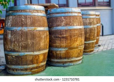 Wooden Barrels. Old wooden barrels for Cognac, Wine or Whiskey