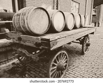 Wooden barrels on an old-fashioned cart
