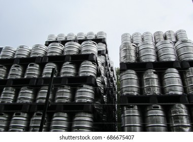 Wooden Barrels pilled up in a stack, brewery