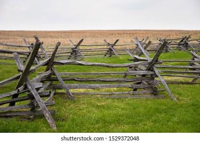 Wooden barrier on civil war battlefield