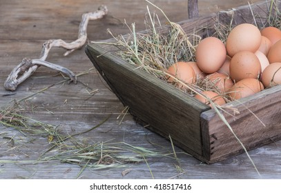 wooden basket full of eggs and straw