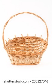 Wooden basket on a white background
