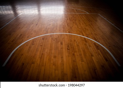 Wooden basketball court for background