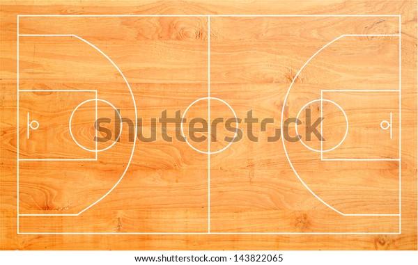 Cancha de baloncesto de madera, parqué