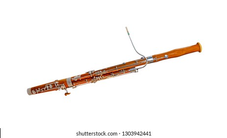 Wooden bassoon isolated on a white background. Music instruments series