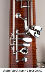 Wooden bassoon isolated on a white background. Music instruments.