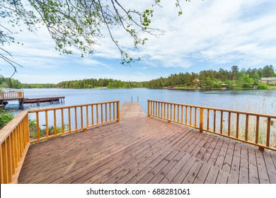 Wooden bathing bridges in the lake