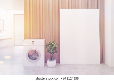 Wooden bathroom interior with a washing machine, a concrete floor, a tree in a pot, a sink and a tub. A poster and a panoramic window. 3d rendering mock up toned image