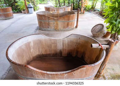 Wooden Bathtub with outdoor for natural hot water, Spa HotTub, Onsen in Thailand.