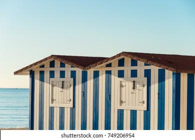 Wooden beach huts on Campello resort, Costa Blanca, Spain