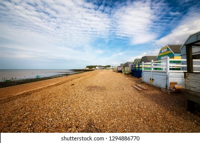Wooden Beach Huts at the Beach in Whitstable, Kent, England