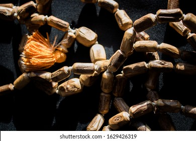 Wooden beads rosary made from the stems of Tulsi. Wooden rosary.  - Shutterstock ID 1629426319